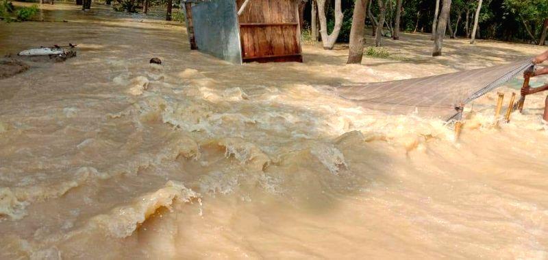 Darbhanga: A view of the flood affected Darbhanga of Bihar on July 28, 2019.