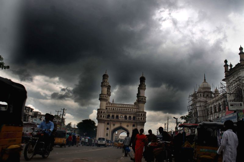 Dark clouds loom over Charminar in Hyderabad on Aug. 30, 2014.