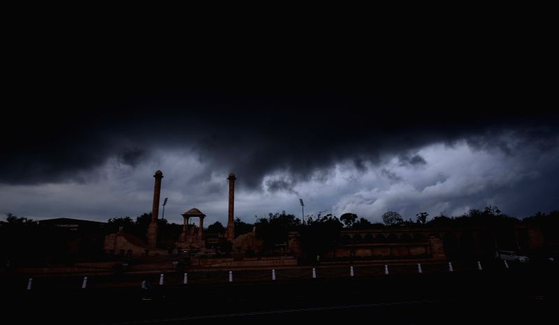 Dark clouds loom over Jaipur on Aug 9, 2016.