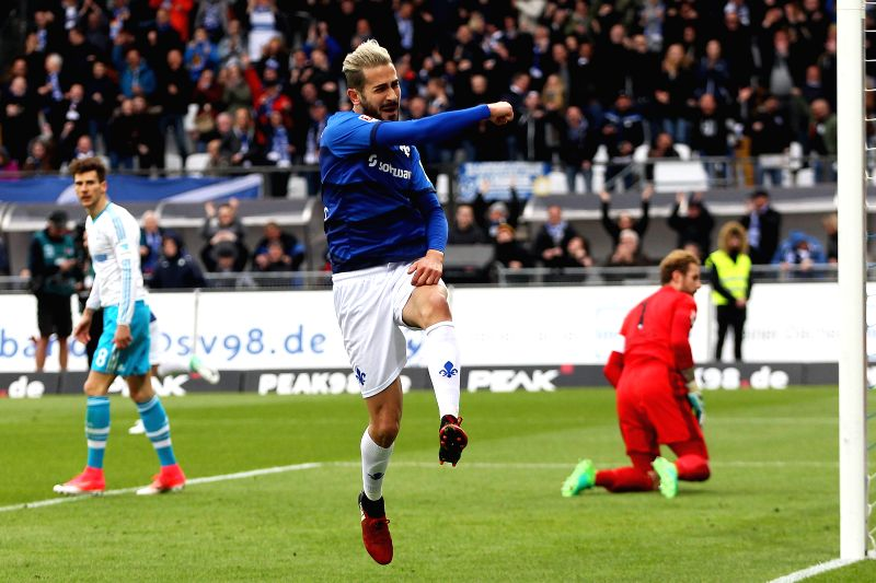 DARMSTADT, April 17, 2017 - Mario Vrancic (L) of SV Darmstadt 98 celebrates after scoring during the Bundesliga match between SV Darmstadt 98 and FC Schalke 04 at Stadion am Boellenfalltor on April ...