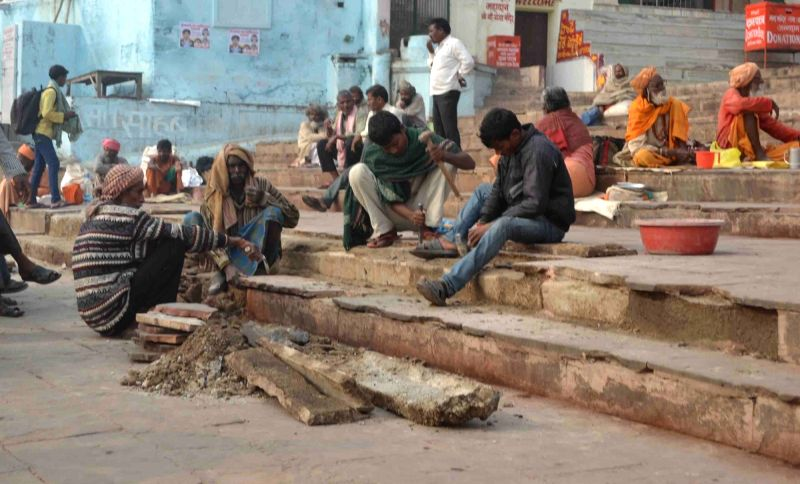 Dasaswamedh Ghat of Varanasi being renovated ahead of Prime Minister Narendra Modi and his Japanese counterpart Shinzo Abe's visit to the city; on Dec 10, 2015. - Narendra Modi