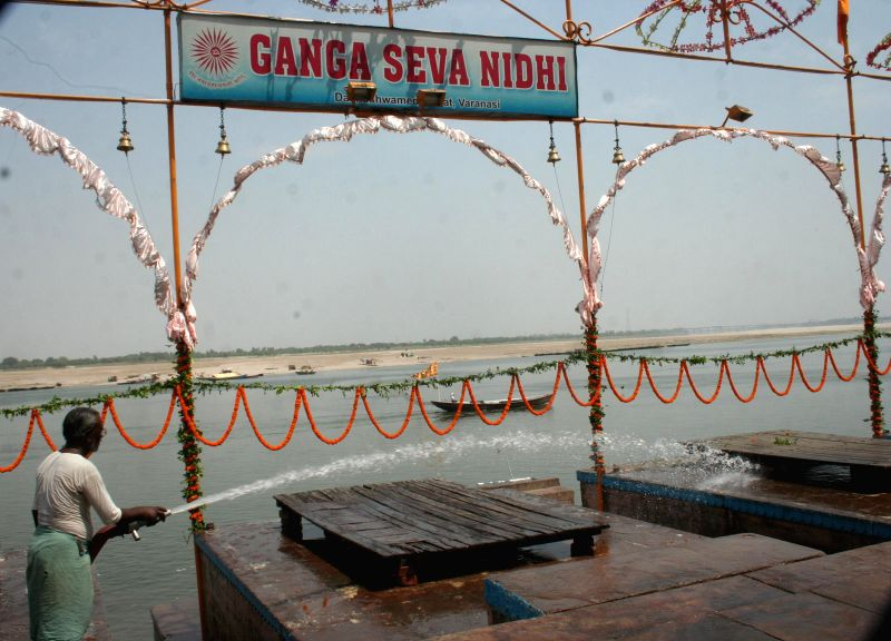 Dasaswamedh ghat where BJP Prime Ministerial candidate and Gujarat Chief Minister Narendra Modi is set to participate in Ganga-aarti being washed ahead of his arrival in Varanasi on May 17, 2014.