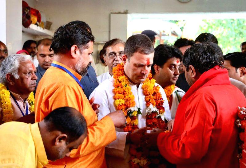 Rahul prays at Pitambara Peeth in MP