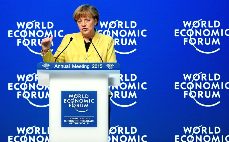 "German Chancellor Angela Merkel delivers a speech during the session ""Global Responsibilities in a Digital Age"" at the annual meeting 2015 of the World ..."