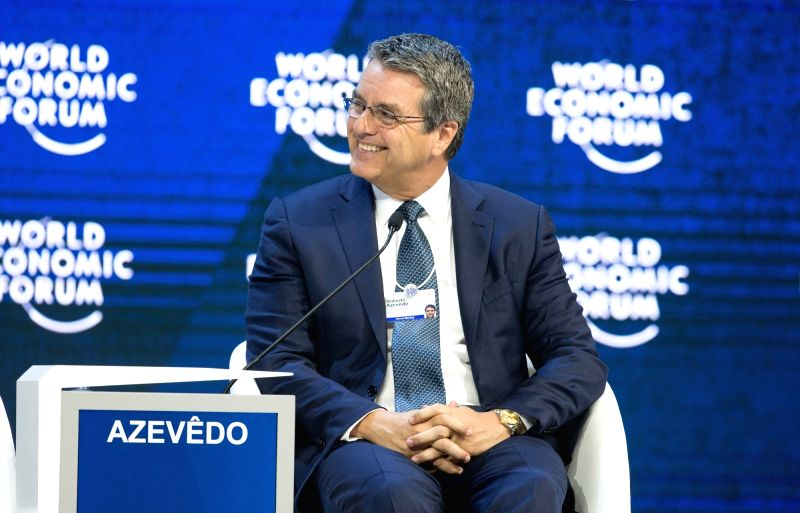 DAVOS, Jan. 24, 2018 - WTO Director-General Roberto Azevedo attends a plenary session on E Commerce during the 48th annual meeting of the World Economic Forum (WEF) in Davos, Switzerland, Jan. 24, ...