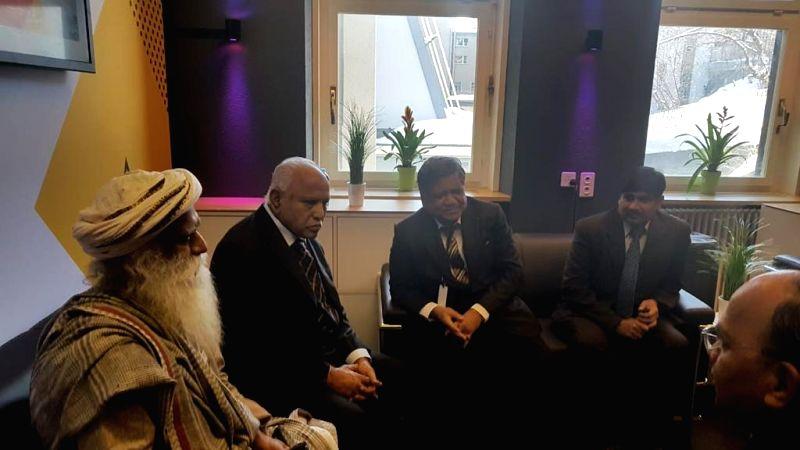 Davos:  Karnataka Chief Minister BS Yediyurappa with Minister Jagadish Shetter in Davos during World Economic Forum at Switzerland Jan 20, 2020. (Photo: IANS)