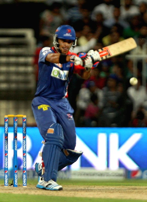 DD player JP Duminy in action during the second match of IPL 2014 between Delhi Daredevils and Royal Challengers Bangalore, played at Sharjah Cricket Stadium in Sharjah of United Arab Emirates on ...