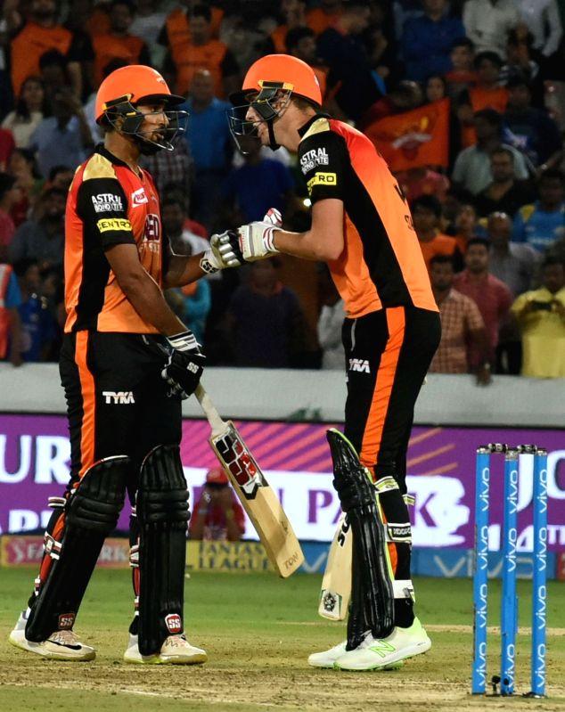 Deepak Hooda and Billy Stanlake of Sunrisers Hyderabad celebrate after winning an IPL 2018 match against Mumbai Indians at Rajiv Gandhi International Cricket Stadium in Hyderabad on April ...