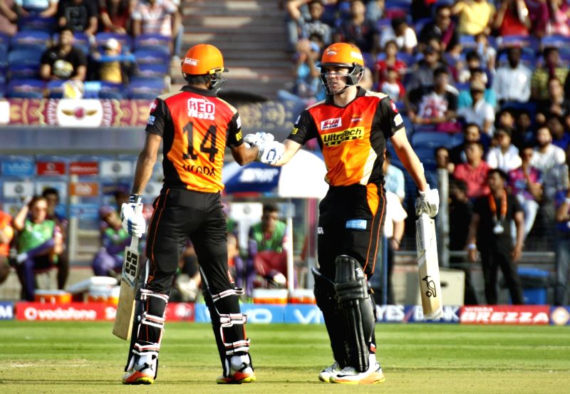 Deepak Hooda and Moises Henriques of Sunrisers Hyderabad during an IPL 2017 match between Rising Pune Supergiant and Sunrisers Hyderabad at Maharashtra Cricket Association Stadium in Pune on ...
