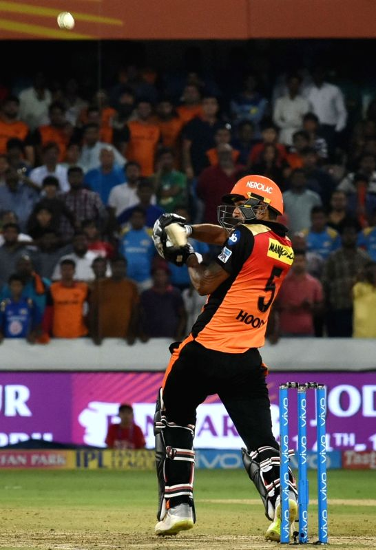 Deepak Hooda of Sunrisers Hyderabad in action during an IPL 2018 match against Mumbai Indians at Rajiv Gandhi International Cricket Stadium in Hyderabad on April 12, 2018.
