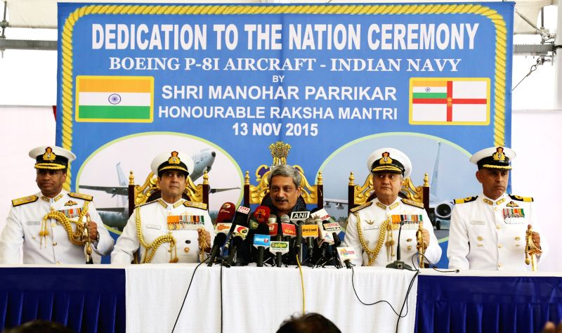 Defence Minister Manohar Parrikar interacts with media at the induction ceremony of P8i Aircraft in to Indian Navy at INS Rajali near Chennai on Nov. 13, 2015.