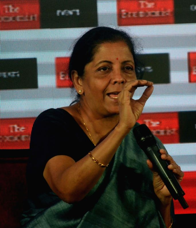 Defence Minister Nirmala Sitharaman addresses at 'The Economist India Summit 2018', in Mumbai on Oct 25, 2018.
