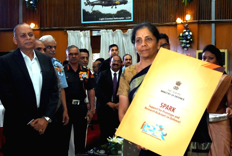"""Defence Minister Nirmala Sitharaman at the launch of """"SPARK"""" support for prototype and Research Kickstart (in Defence), in Bengaluru on Aug 4, 2018. - Nirmala Sitharaman"""