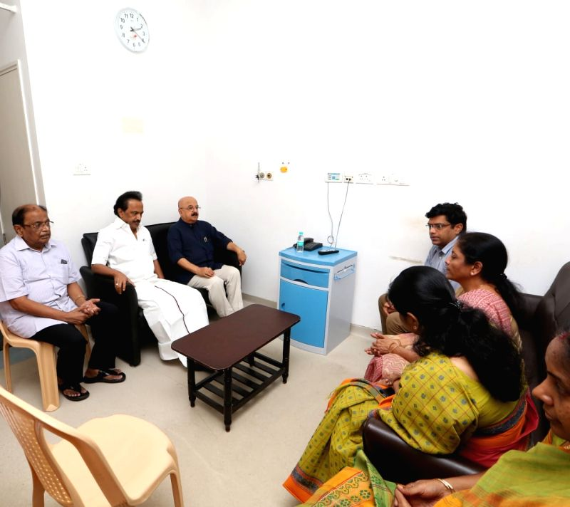 Defence Minister Nirmala Sitharaman with DMK leader M.K. Stalin and others, during her visit to meet DMK President M. Karunanidhi who was admitted into the intensive care unit (ICU) of ... - Nirmala Sitharaman