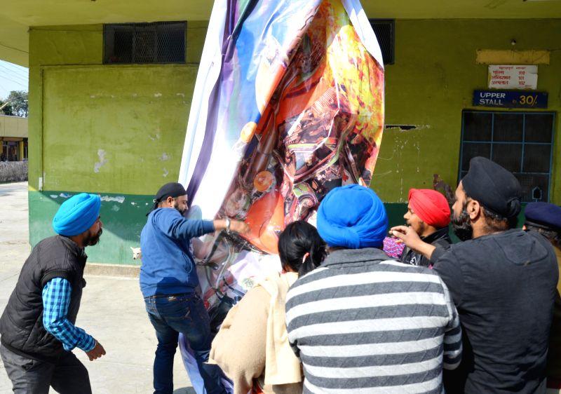 The members of Sikh Punjabi Sabha Uttarakhand (SPSU) protest against the release of film `MSG - The Messenger of God` in Dehradun on Feb 13, 2015.