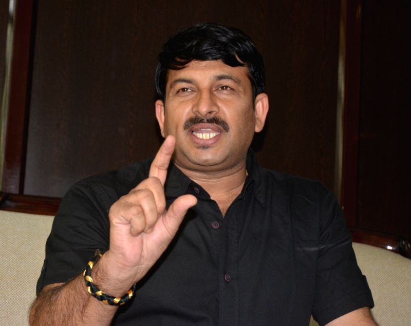 Delhi BJP chief Manoj Tewari addresses a press conference in New Delhi, on June 1, 2017.