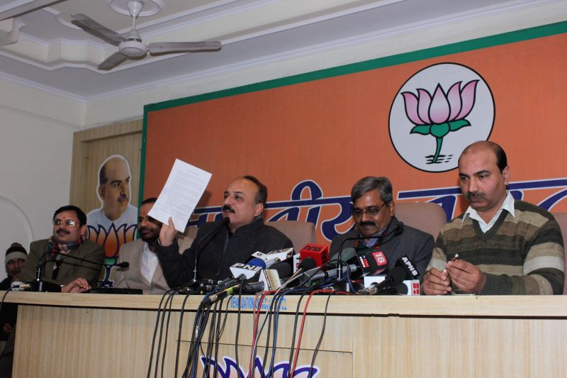 Delhi BJP chief Satish Upadhyay addresses a press conference in New Delhi, on Jan 14, 2015.