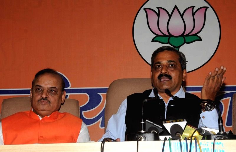 Delhi BJP chief Satish Upadhyay addresses a press conference in New Delhi on Nov 25, 2015.