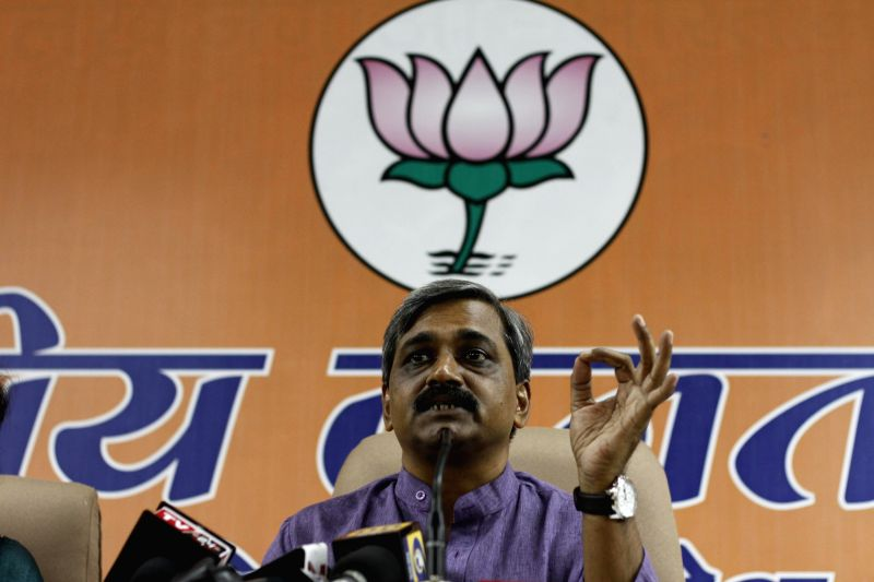 Delhi BJP chief Satish Upadhyay during a press conference in New Delhi on Aug 19, 2014. - Satish Upadhyay