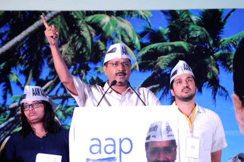 Delhi Chief Minister and AAP leader Arvind Kejriwal addresses a public rally at Panaji's Campal Grounds  on May 22, 2016. - Arvind Kejriwal