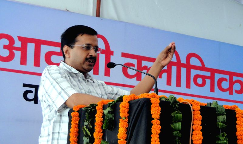 Delhi Chief Minister Arvind Kejriwal addresses during the inauguration of `Aam Aadmi Clinic` at Piragdi in New Delhi, on July 19, 2015. - Arvind Kejriwal