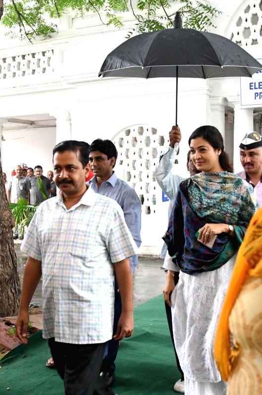 Delhi Chief Minister Arvind Kejriwal after casting his vote during presidential polls at Delhi Assembly in New Delhi on July 17, 2017. - Arvind Kejriwal