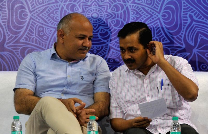 Delhi Chief Minister Arvind Kejriwal and Deputy Chief Minister Manish Sisodia during a programme organised to interact with students of Delhi Government schools who have cleared IIT-JEE ... - Arvind Kejriwal