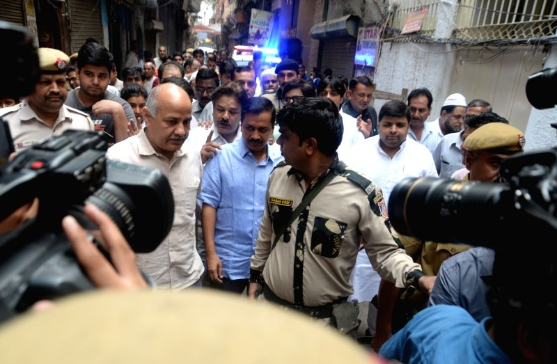 Delhi Chief Minister Arvind Kejriwal and Deputy Chief Minister Manish Sisodia during their visit to Rabea Girls' Public School in Delhi's Chandni Chowk, on July 12, 2018. The school ... - Arvind Kejriwal