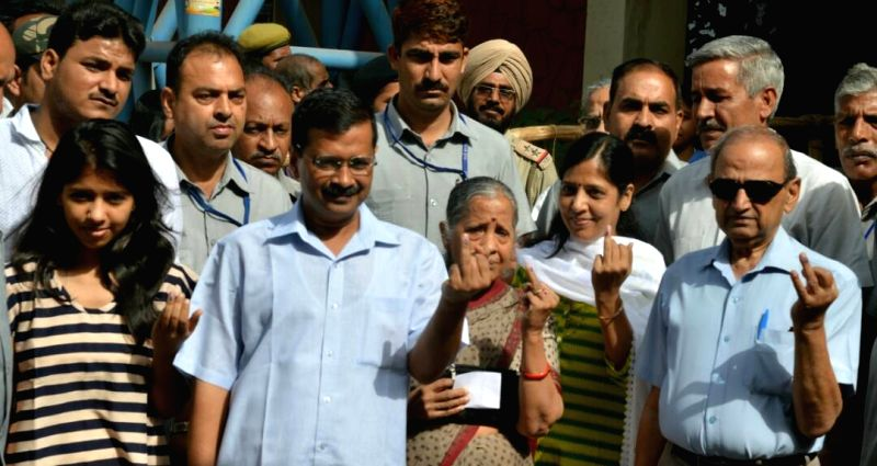 Delhi Chief Minister Arvind Kejriwal and his family after casting their vote for MCD election in Delhi on April 23, 2017. - Arvind Kejriwal
