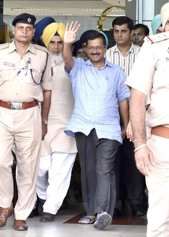 Delhi Chief Minister Arvind Kejriwal arrives at Amritsar Airpot on July 17, 2016. - Arvind Kejriwal