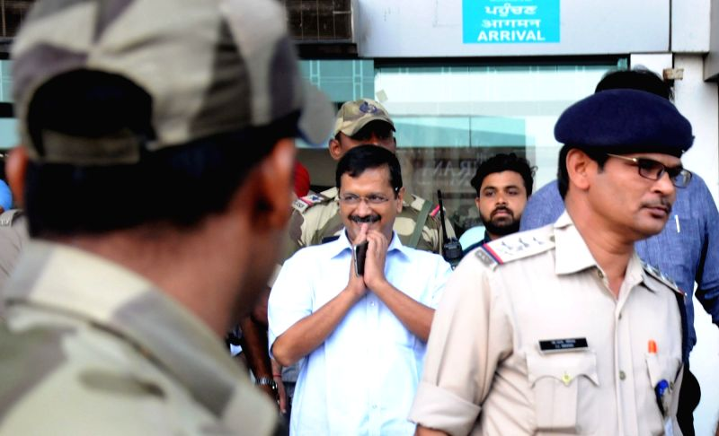 Delhi Chief Minister Arvind Kejriwal arrives at Sri Guru Ram Dass Jee International Airport to appear before court against the defamation case filed by Cabinet Minister Punjab Bikram Singh ... - Arvind Kejriwal and Bikram Singh Majithia