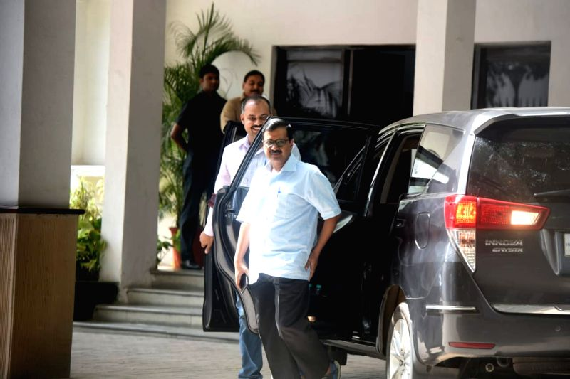 Delhi Chief Minister Arvind Kejriwal arrives at Raj Niwas to meet Delhi Lieutenant Governor Anil Baijal in New Delhi, on July 6, 2018. - Arvind Kejriwal