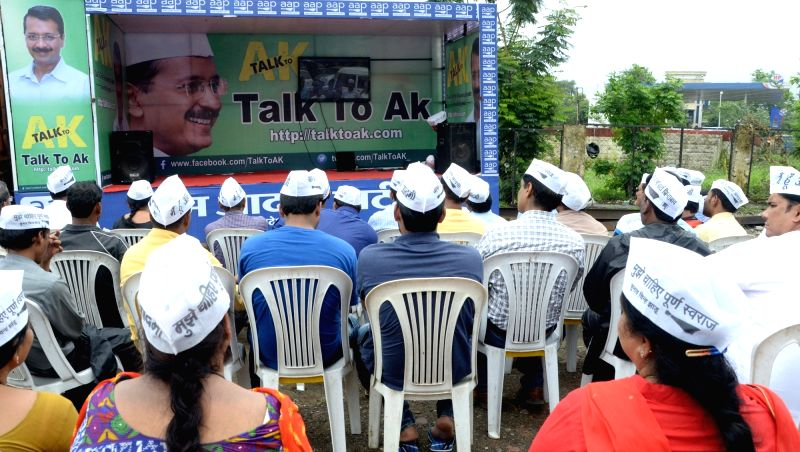 """Delhi Chief Minister Arvind Kejriwal interacts with AAP leaders of Shivaji Nagar during an interactive session """"Talk to AK"""" in Bhopal on July 17, 2016. - Arvind Kejriwal"""