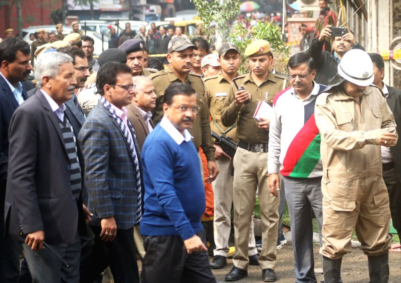 Delhi Chief Minister Arvind Kejriwal visit the site where a child and 16 others, including a woman was killed in a major fire  that engulfed several storeys of a central Delhi hotel on ... - Arvind Kejriwal