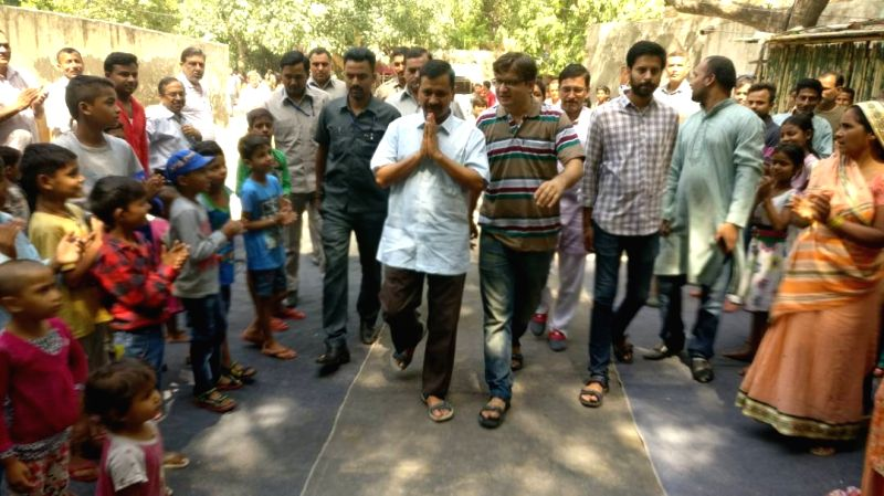 Delhi Chief Minister Arvind Kejriwal visits his constituency in New Delhi, on June 11, 2017. - Arvind Kejriwal