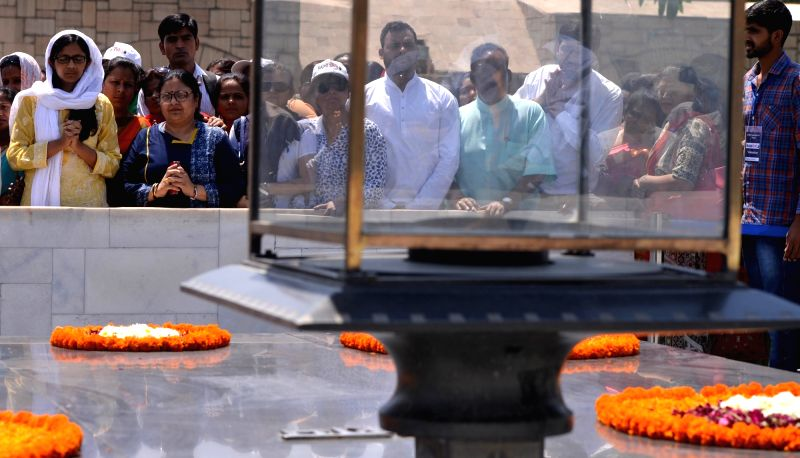 Delhi Commission for Woman (DCW) chief Swati Maliwal pays homage at the Samadhi of Mahatma Gandhi during an indefinite hunger strike at Rajghat against Unnao and Kathua rape incidents and ... - Narendra Modi