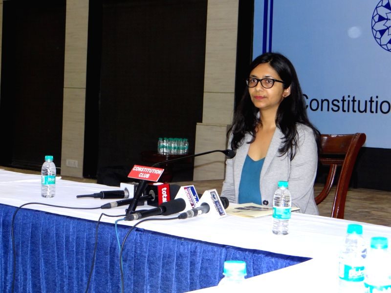 Delhi Commission for Women (DCW) chief Swati Maliwal addresses a press conference, in New Delhi on July 24, 2018.