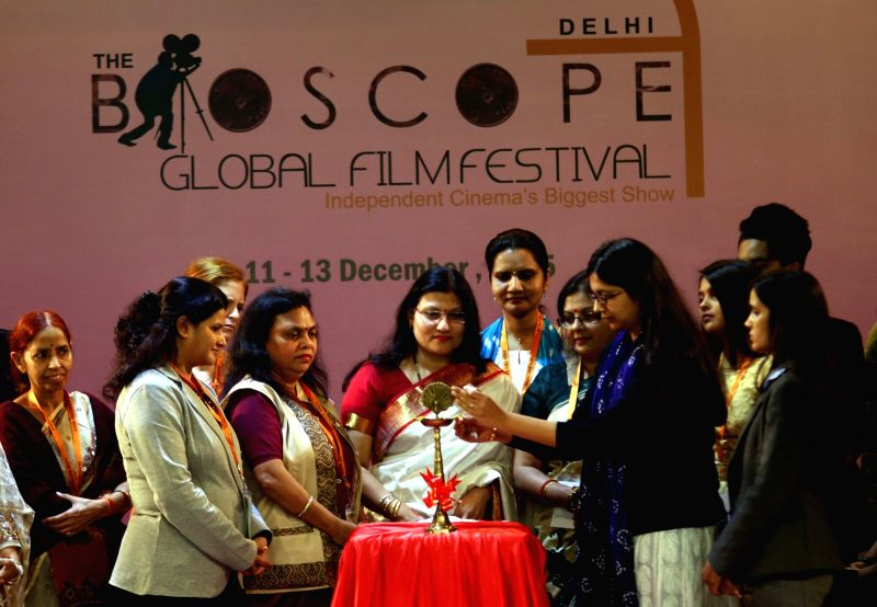 Delhi Commisson for Women (DCW) chief Swati Maliwal at the inauguration of Bioscope Global Film Festival in New Delhi on Dec 11, 2015.