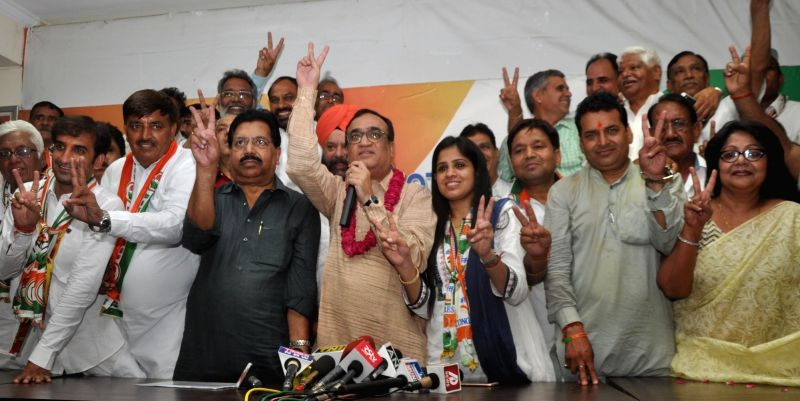 Delhi Congress chief Ajay Maken addresses a press conference in New Delhi on May 17, 2016.