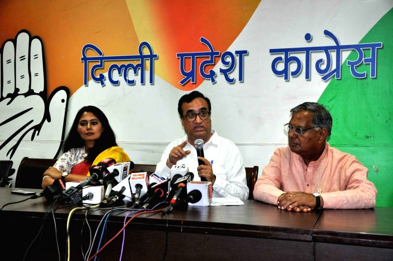 Delhi Congress chief Ajay Maken addresses a press conference in New Delhi on May 8, 2017.
