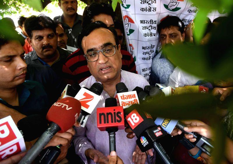 Delhi Congress chief Ajay Maken talks to press in New Delhi on April 26, 2017.