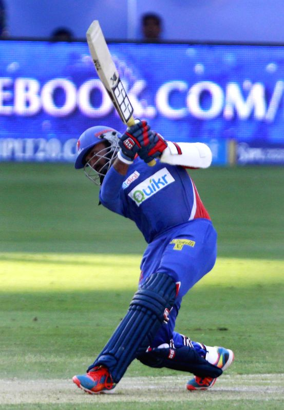 Delhi Daredevils batsman Dinesh Karthik in action during the 12th match of IPL 2014 between Sunrisers Hyderabad and Delhi Daredevils, played at Dubai International Cricket Stadium in Dubai of United . - Dinesh Karthik