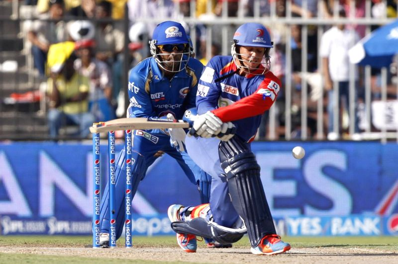 Delhi Daredevils batsman Quinton de Kock  in action during the 16th match of IPL 2014 between Mumbai Indians and Delhi Daredevils, played at Sharjah Cricket Stadium in Sharjah of United Arab Emirates - Quinton