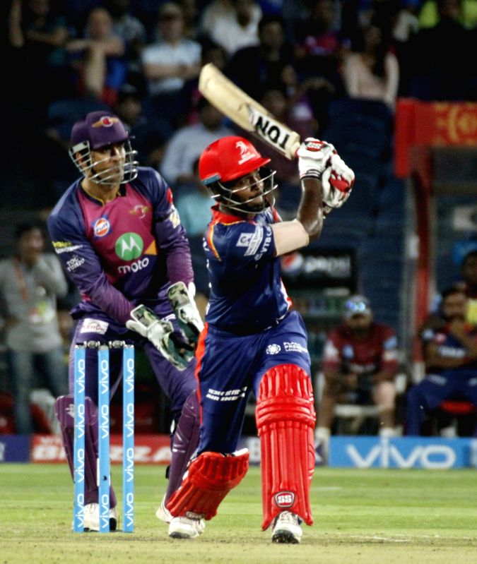 Delhi Daredevils batsman Sanju Samson in action during an IPL 2017 match between Rising Pune Supergiant and Delhi Daredevils at Maharashtra Cricket Association Stadium in Pune on April 11, 2017. - Sanju Samson