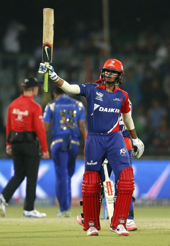 Delhi Daredevils batsman Shreyas Iyer​ celebrates his half century​ during an IPL-2015 match between Delhi Daredevils and Mumbai Indians at Feroz Shah Kotla stadium, in New Delhi, on April 23, ... - Shreyas Iyer and Feroz Shah Kotla