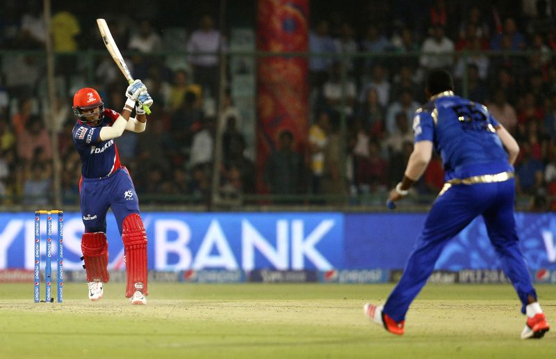 Delhi Daredevils batsman Shreyas Iyer​ in action​ during an IPL-2015 match between Delhi Daredevils and Mumbai Indians at Feroz Shah Kotla stadium, in New Delhi, on April 23, 2015. - Shreyas Iyer and Feroz Shah Kotla