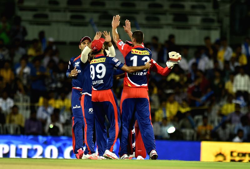 Delhi Daredevils celebrate fall of a wicket during an IPL-2015 match between Chennai Super Kings and Delhi Daredevils at MA Chidambaram Stadium, in Chennai, on April 9, 2015.