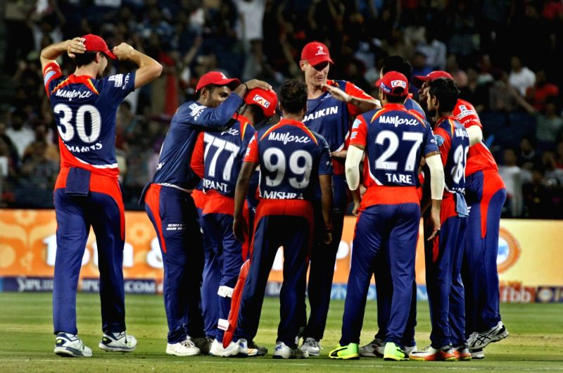 Delhi Daredevils celebrate fall of Ajinkya Rahane's wicket during an IPL 2017 match between Rising Pune Supergiant and Delhi Daredevils at Maharashtra Cricket Association Stadium in Pune on April 11, ...