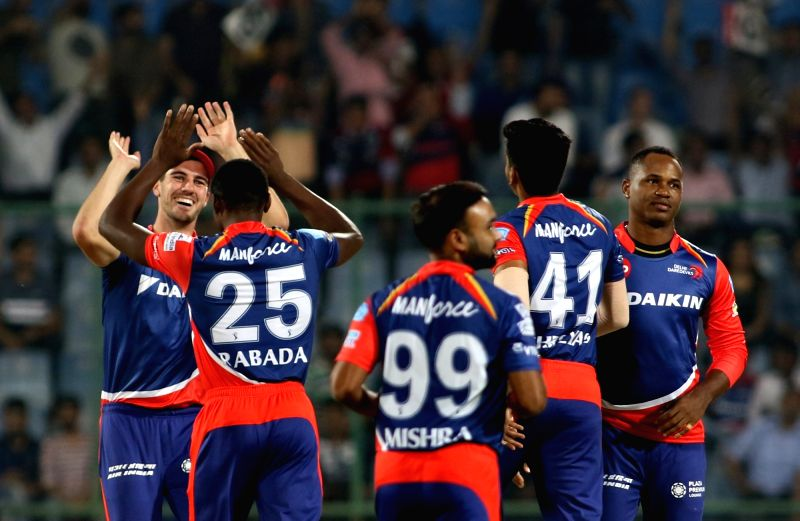 Delhi Daredevils celebrate fall of Brendon McCullum's wicket during an IPL 2017 match between Delhi Daredevils and Gujarat Lions at Feroz Shah Kotla in New Delhi, on May 4, 2017. - Feroz Shah Kotla