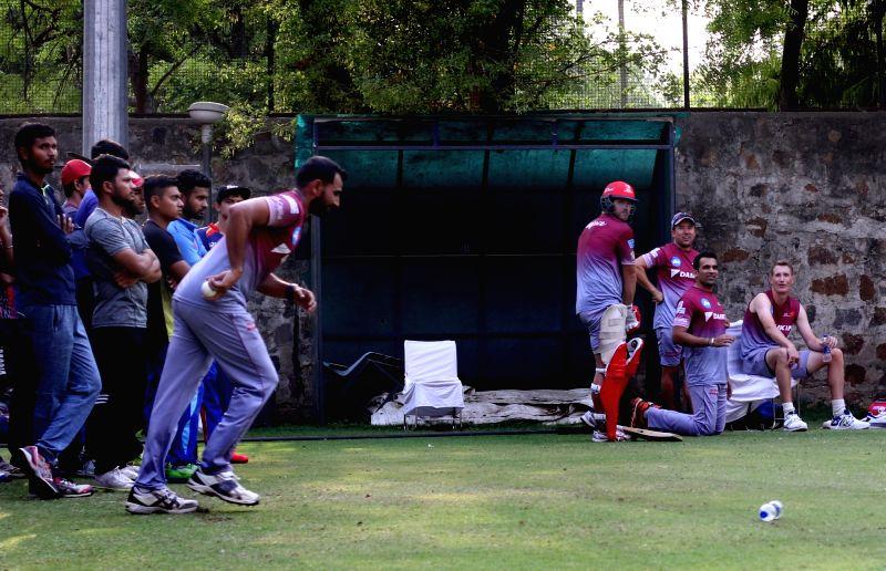 Delhi Daredevils during a practice session ahead of an IPL 2017 match against Kings XI Punjab at Feroz Shah Kotla stadium in New Delhi on April 14, 2017. - Feroz Shah Kotla